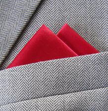 SUPERNOVA SCARVES Red Satin 2 Point Carded Pocket Handkerchief Wedding Suit