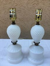 Pair of Antique Milk Glass Table Top Lamps - Hob Nail - 12 Inch Tall - Vintage
