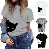 T-shirt Sleeve Short Print Shirts Tops Summer Hipster Cotton Blouse Women Cat