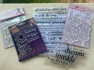 New lot of 5 Acrylic Stamps sets: Greetings, Sentiments, phrases, Card Making