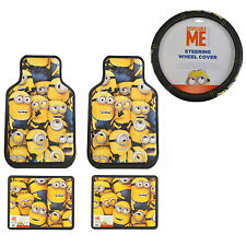 5pc Despicable Me Minions Car Truck Front Rear Floor Mats Steering Wheel Cover