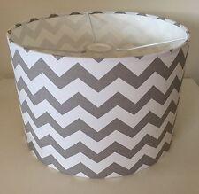 Grey And White Chevron Zig Zag Lampshade Handmade In 30cm Drum, Contemporary