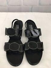 MUNRO American Women's Black Leather Elastic Heel Sandals Size 8 N