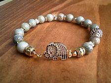 Elephant Bracelet Silver Mist Jasper Gemstone Beaded Bracelet Womens Gift UK