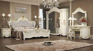 Klasisches Schlafzimmer Antonia in beige 7-Teilig Deluxe Barock Italienisch Bett