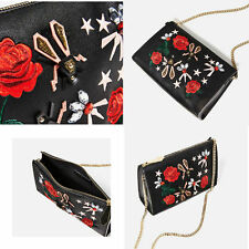 ZARA WOMAN SS17 BLACK ENVELOPE EMBROIDERED FLOWER CLUTCH  NWT Stunning