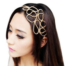 FM- EG_ HK- Lovely Metallic Boho Lady Hollow Gold Elastic Hair Band Headband For