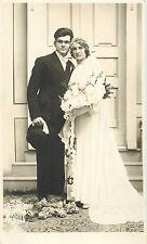Wedding photographer foto postcard 1936 charm groom & bride