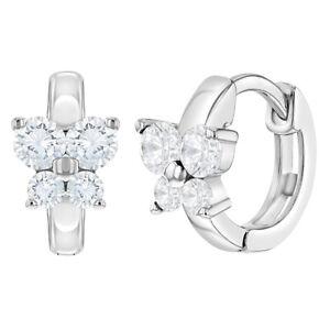 925 Sterling Silver Butterfly Clear CZ Small Hoop Huggie Earrings Girls 10mm