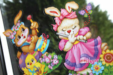 Novelty Easter Bunny Player Window Glass Cling Sticker Party Shop Pink Decor