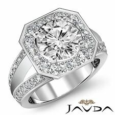 Halo Split Shank Round Diamond Engagement Ring GIA F SI1 14k White Gold 2.16ct