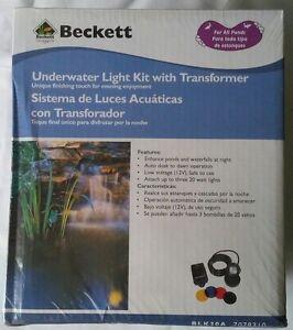 Beckett Underwater Pond Light Kit 20W Lights w/Transformer Submersible New 4 Clr