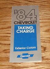 Original 1984 Chevrolet Passenger Car Exterior Colors Brochure 84 Camaro