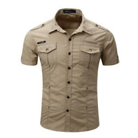 Military Men Shirts Short Sleeve Army Cargo Slim Fit Tactical Outdoor Work Shirt