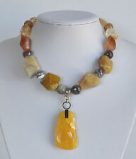 Vintage signed ABM Chunky Citrine Agate Silver Necklace Egg Yolk Amber Pendant