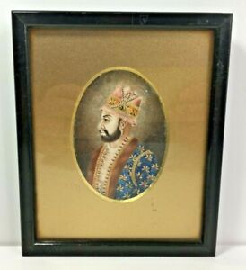 Antique Portrait Miniature Painting of an Indian Moghul Mughal Shah