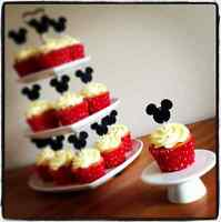 12 MICKEY MOUSE CUP CAKE FLAG Black Pink Red Minnie Topper Birthday Decoration