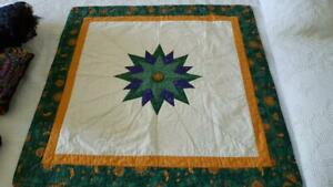 """36""""HANDCRAFTED CELESTIAL MOON SUN STAR PATCHWORK LAP QUILT,STARBURST WALLHANGING"""