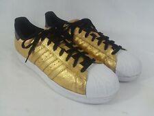 Adidas Superstar Gold Metallic Ostrich Leather Sz 12 Euc
