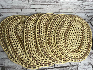 VINTAGE SET OF 6 WOVEN STRAW WICKER RATTAN PLACEMATS 17x12