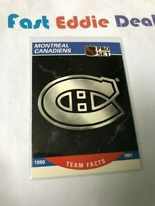 PRO SET NHL HOCKEY 1990 MONTREAL CANADIENS TEAM FACTS CARD 575 EXCELLENT 1990-91