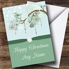 Verde Natale Uccello personalizzata cartolina di Natale