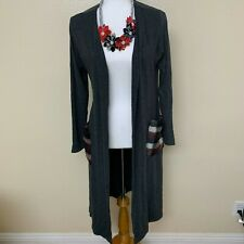 Go Couture Duster Cardigan Large Long Sleeve Gray Soft Jersey Patch Pocket