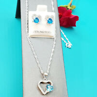 4pcs Set 925 Sterling Silver Women Jewelry Pendant Earrings Chain Heart CZ Stone