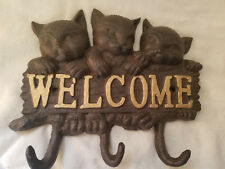 Cast Iron Brown With Gold Lettering Welcome Three Cat Three Hook Wall Decor