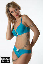 FLORA  Bleu ensemble 5 pièces soutien-gorge push-up et 4 strings taille 95B/L