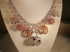 Lovely Sparkling Pink Crystal Necklace Set-Handcrafted In Usa-Great Details!