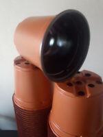 Lote 12x Macetas de plástico TMF para plantas cultivo 10,5 cm 0,52 L marrones