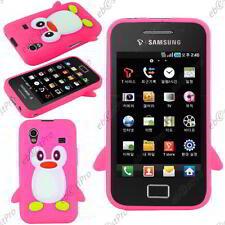 Coque Housse Etui TPU Gel Souple Pingouin Rose Samsung Galaxy Ace S5830 S5839I