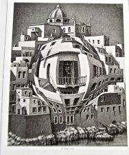 M C. Escher Balcony 14x11 Offset Lithograph Warped Glass Effect