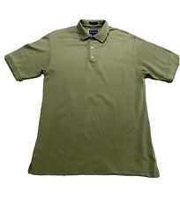 Free Shipping Alan Flusser Men's Classic Polo, Green And Cream Herring, Size M