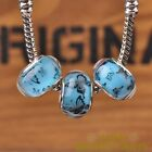 New 10pcs 14mm European Bracelet Resin Butterfly Pattern Big Hole Bead Lake Blue