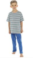 Boys Striped Short Sleeve Long Leg Pyjamas set Age 5-6 7-8 9-10 11-12 years NEW