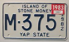 Island of Stone Money 1983 YAP STATE MOTORCYCLE License Plate # M-375
