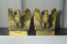 Vintage FIERCE Federal EAGLE Brass Bookends Philadelphia Manufacturing Co. 1776