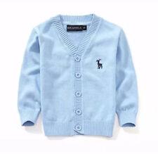 1-2Y Sweater 100% Cotton kids Cardigan Boys Girls Children's Knit Cardigan Blue