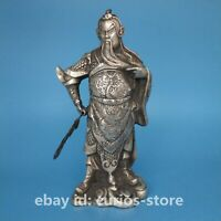 "9.1""Fine Chinese Paktong Wealth God Guan Gong Yu Warrior Hold Knife Stand Statue"