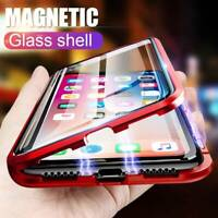 For iPhone 11 Pro Max Case Cover Magnetic Adsorption Tempered Glass Metal Flip