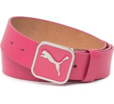 NEW Puma Square Fitted Belt Beetroot Pink Genuine Leather Golf US Small $50