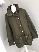 M&S Classic Ladies Raincoat Jacket Uk Size 14 Zip Up Carci Green Lined Stylish