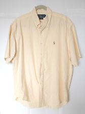 Mens RALPH LAUREN Blaire Short Sleeve 100% Cotton Yellow-White Stripe Shirt SZ L