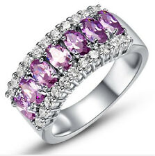 Fashion Women Jewelry Purple Gemstones Wedding Engagement Party Ring Size:9
