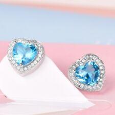 Fashion Women Retro Style Blue Aquamarine Gemstone Crystal Heart Stud Earrings
