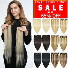 Clip In 100% Real Remy Human Hair Extensions Full Head Single & Double Weft US