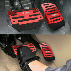 2* Red Non-Slip Automatic Gas Brake Foot Pedal Pad Cover Car Accessories Kit