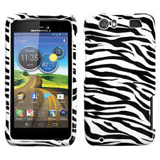 MOTOROLA ATRIX HD MB886 AT&T SNAP-ON HARD COVER CASE WHITE ZEBRA